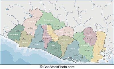 Map of El Salvador - El Salvador is the smallest and the...