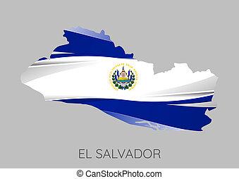 Map of El Salvador - Map Of El Salvador With Flag As Texture...