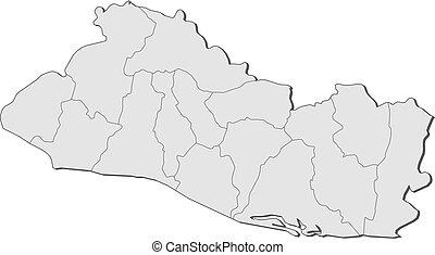 Map of El Salvador - Political map of El Salvador with the...