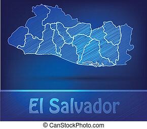 Map of el-salvador with borders as scrible