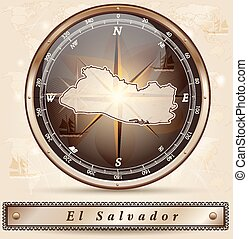Map of el-salvador with borders in bronze