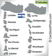 Map of el-salvador with borders in gray