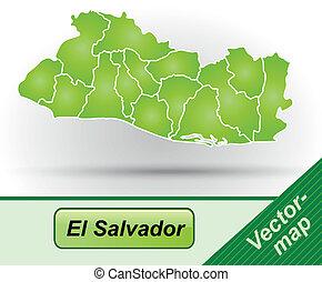 Map of el-salvador with borders in green