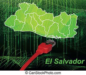 Map of el-salvador with borders in network design