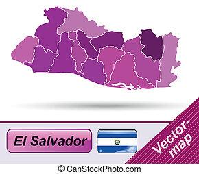 Map of el-salvador with borders in violet