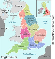 Map of England with Districts