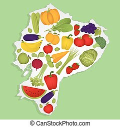 Map of equator with fruits