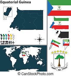 Map of Equatorial Guinea - Vector of Equatorial Guinea set...
