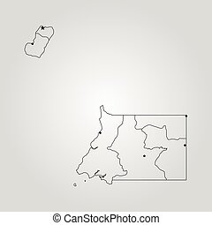 Map of Equatorial Guinea. Vector illustration. World map