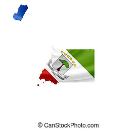 Map of Equatorial Guinea with waving flag isolated on white