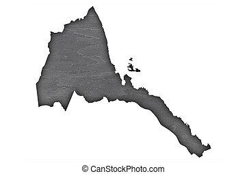 Map of Eritrea on dark slate