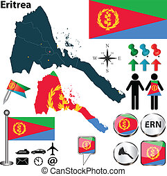 Vector of Eritrea set with detailed country shape with region borders, flags and icons