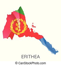 Map of Eritrea with an official flag. Illustration on white background