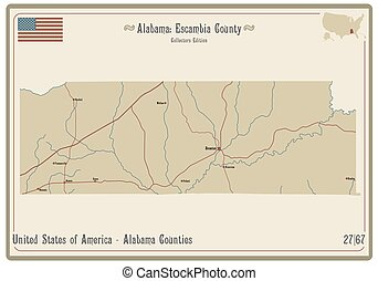 Map of Escambia County in Alabama