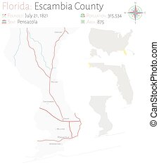Map of Escambia County in Florida