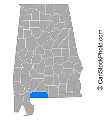 Map of Escambia in Alabama
