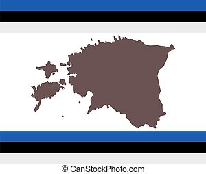 Map of Estonia on background with flag