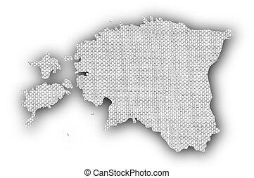 Map of Estonia on old linen