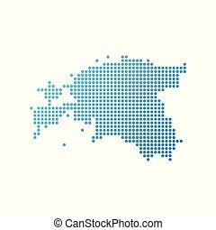 Map of Estonia, Vector Icon in blue modern style