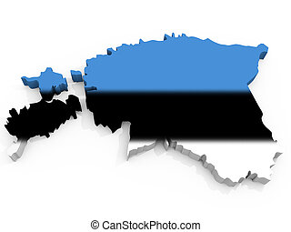 Map of Estonia with flag Republic of Estonia