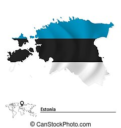 Map of Estonia with flag