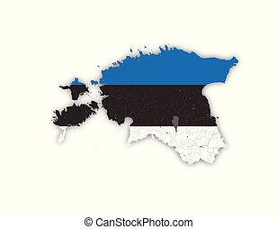 Map of Estonia with rivers and lakes in colors of the Estonian national flag.