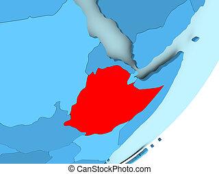 Map of Ethiopia on blue political globe