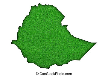 Map of Ethiopia on green felt