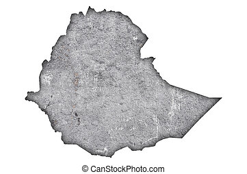Map of Ethiopia on weathered concrete
