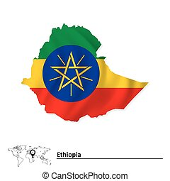 Map of Ethiopia with flag