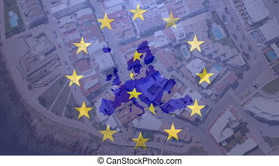 Animation of yellow stars spinning with EU map over a cityscape. Finance and technology concept digital composite