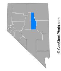 Map of Eureka in Nevada