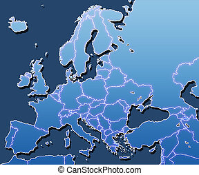 """A map of Europe with """"scan line"""" effect on areas of land, and slight glow effect on borders."""