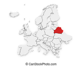Map of Europe and Belarus.