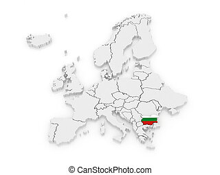 Map of Europe and Bulgaria. 3d