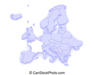 Map of Europe and France.