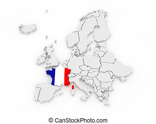Map of Europe and France. 3d