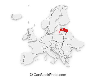 Map of Europe and Latvia. 3d