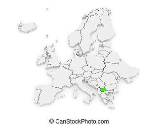 Map of Europe and Macedonia. 3d