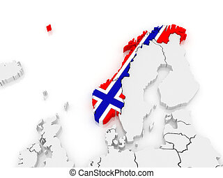 Map of Europe and Norway.