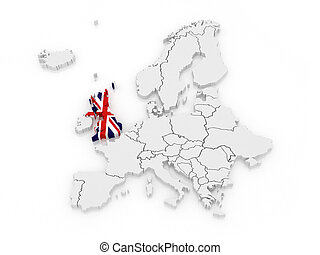 Map of Europe and United Kingdom. 3d