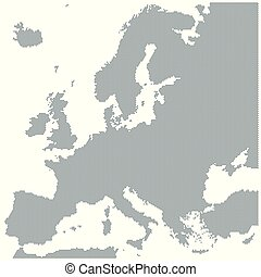 Map of Europe made of gray dots. Dotted silhouette, outline...