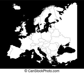 Map of Europe silhouette with country borders isolate on black