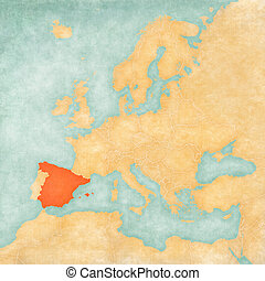Map of Europe - Spain - Spain on the map of Europe in soft...