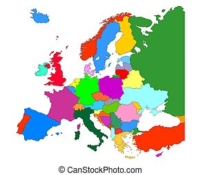 Map of Europe  with country borders isolate on white background