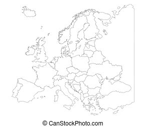 Map of Europe with country borders isolate on white