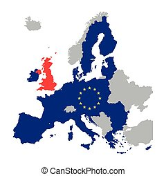 Map of Europe with European Union members and red Great Britain / United Kingdom, vector illustration of brexit