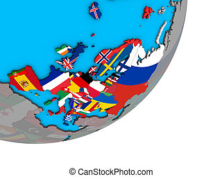 Map of Europe with flags on globe