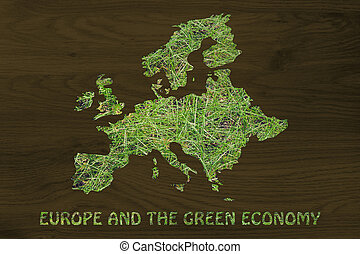 map of europe with green grass, concept of environmental awareness