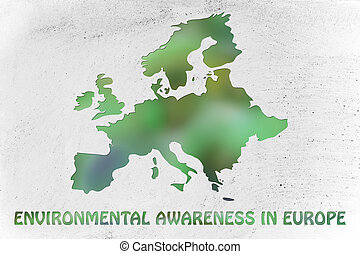 map of europe with green leaves blur, concept of environmental awareness